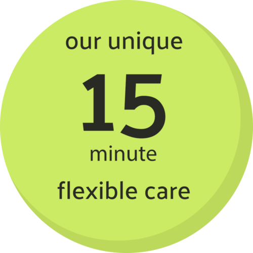 Our unique 15 minute flexible care