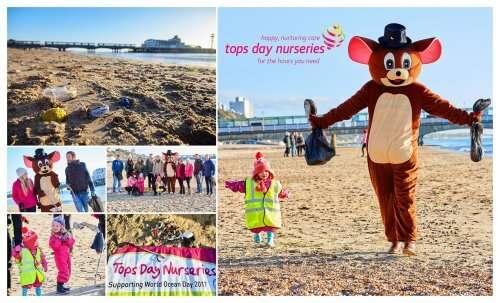 tops day nurseries beach clean